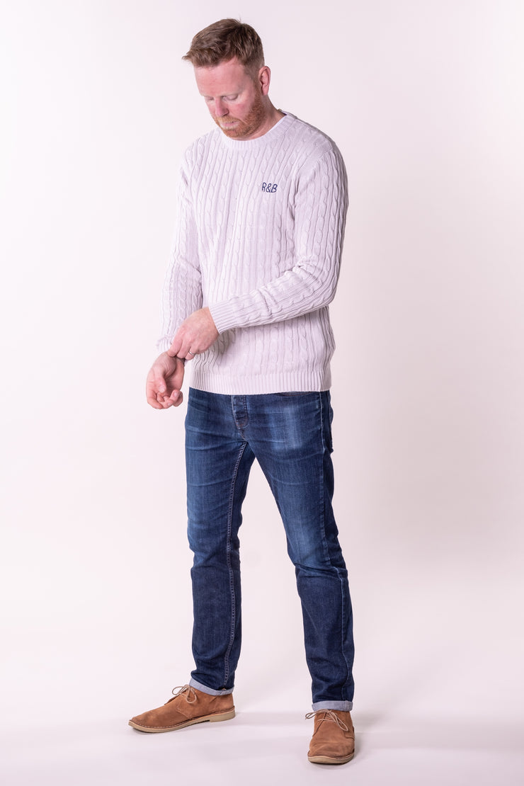 Kenn Knitted Cable Crew Neck Grey Marl