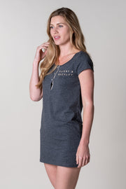 Challacombe T-shirt Dress in Charcoal
