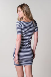 Brandis Jersey Dress In Navy Stripe