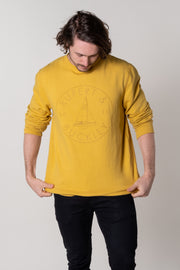 Salcombe Crew Neck Jersey Top In Ochre