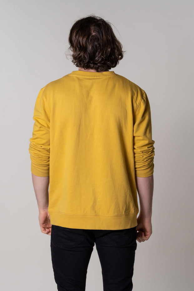 """Salcombe"" Mens Crew Neck Jersey Top In Ochre"