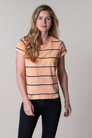 Tania Stripe Flowy Tee In Prairie Sunset