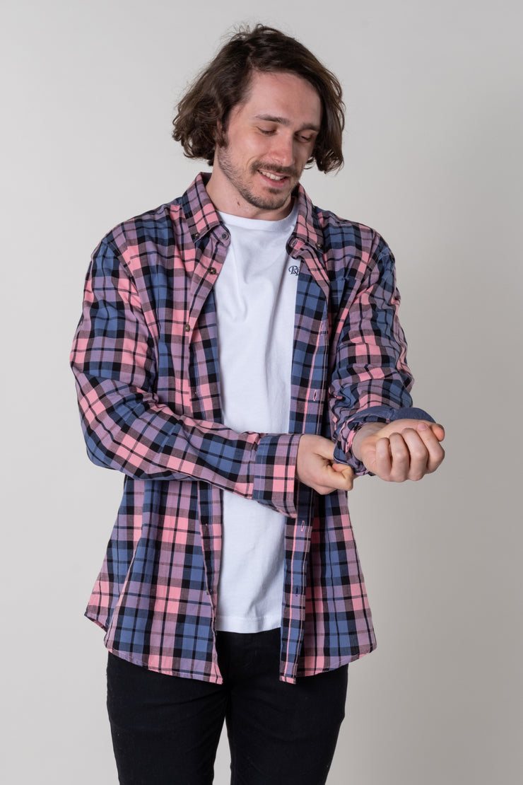 Rew Check Shirt In Pink