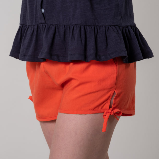Curtisknowle Tie Shorts in Apple Red