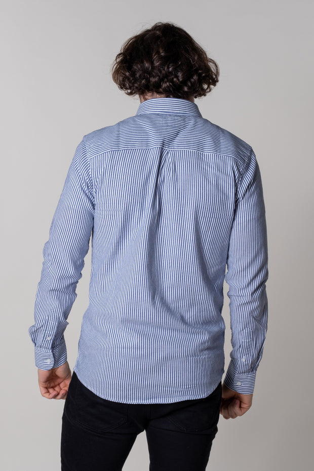 Brixham Shirt In Navy Stripe