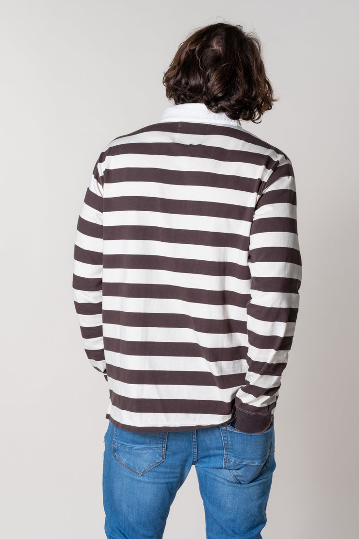 Kingsbridge Striped Rugby Top In Charcoal