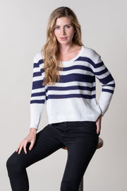 Ashprington Slouch Knit in Navy Stripe