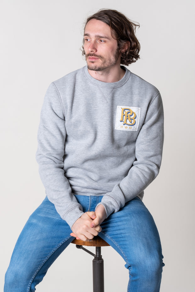 Mens Crew neck jumper in grey marl, 100% super soft cotton