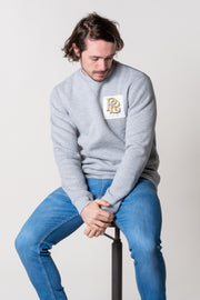 Crew neck jumper for men in grey marl, 100% super soft cotton with vintage patch.