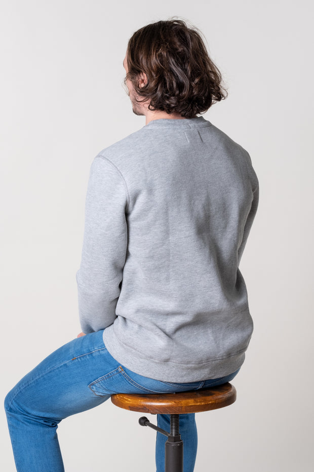 Grey marl mens crew neck jumper in 100% cotton super soft jersey.
