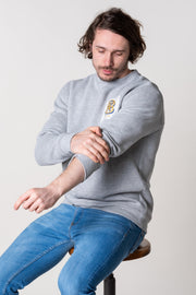 Grey Marl crew neck jumper for men in super soft 100% cotton jersey.