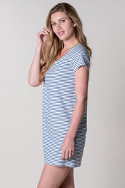 Halwell T-Shirt Jersey Dress In Navy Stripe