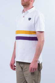 Merton Stripe Short Sleeve Rugby Top In White