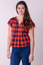 Bovey Split Back Woven Top Red Navy Check
