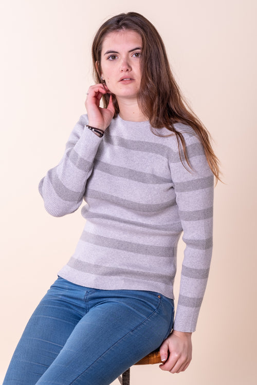Honiton Stripe Crew Neck Grey Marl Stripe