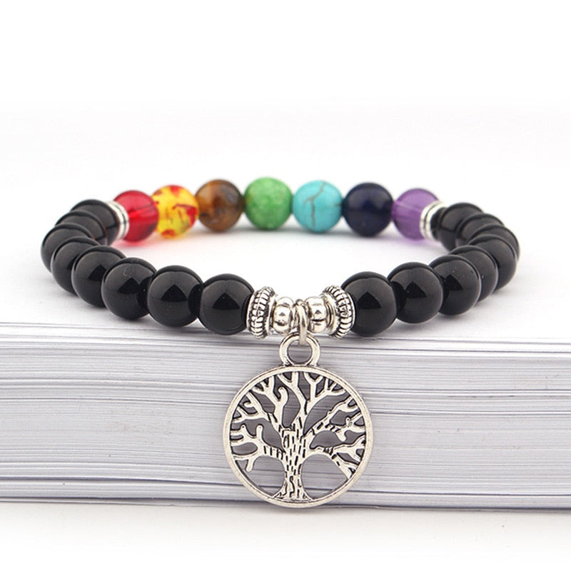 7 Chakra Healing Bracelet With Tree of Life, Lava Stone