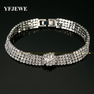 YFJEWE Delicate Fashion Chain Type Bracelet Tone Crystal Rhinestones Chic Jewelry For Women lady Bridal Prom Bracelet #B083