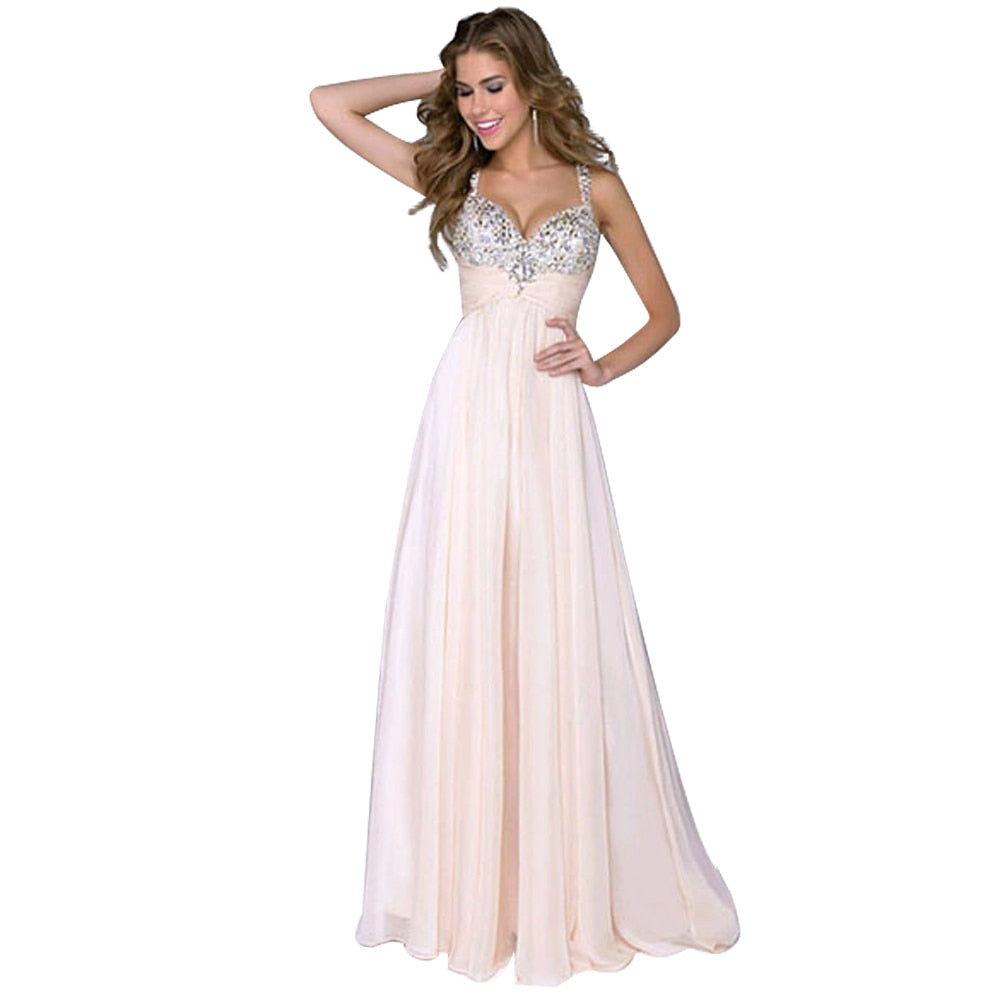Sexy Women Sleeveless Sequin Prom Ball Party Dress Formal Gown Long Dress