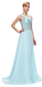 Grace Karin Long Bridesmaid Dresses Light Blue Navy Blue Pink Green One Shoulder Prom Gown Beaded Chiffon Bridesmaid Dress 2018