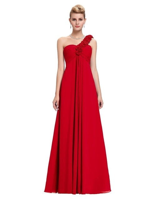 Wedding cheap Bridesmaid Dresses under 50 Plus Size Yellow Red one shoulder Chiffon Junior long Bridesmaids Prom Dresses 2018