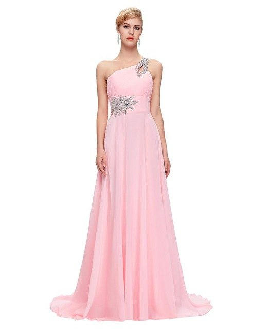 Modest Cheap Bridesmaid Dresses under 50, Chiffon One Shoulder Pink Purple Mint Green Red Long Bridesmaids Dresses Floor Length