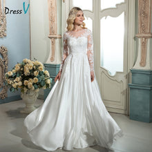 Load image into Gallery viewer, Dressv white vintage scoop neck A-line long wedding dress long sleeves appliques sweep train outdoor wedding dress bridal dress
