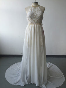 Romantic Ivory Lace Vestido de Noiva Beaded Sexy Backless High Low Beach Vintage Wedding Dress Chiffon Robe de Mariage