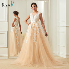 Load image into Gallery viewer, Dressv champagne wedding dress scoop neck a line appliques court train bridal gowns elegant long outdoor&church wedding dresses