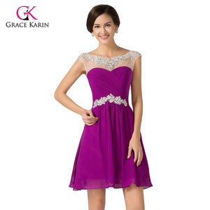 Cheap Bridesmaid Dresses under 50 Grace Karin royal Blue Purple Women Chiffon Beaded Prom Dress Short bridesmaid Dresses 2018