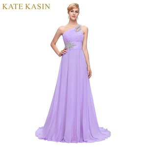 Free Delivery Long Chiffon Bridesmaid Dresses One Shoulder Beading Royal Blue Purple Red Pink Cheap Bridesmaid Dress Gown 2949