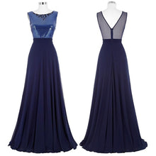 Load image into Gallery viewer, Kate Kasin Long Bridesmaid Dresses 2017 Navy Blue Wedding Party Sexy See Through Back Junior Cheap Bridesmaid Dresses under 50