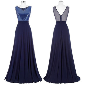 Kate Kasin Long Bridesmaid Dresses 2017 Navy Blue Wedding Party Sexy See Through Back Junior Cheap Bridesmaid Dresses under 50