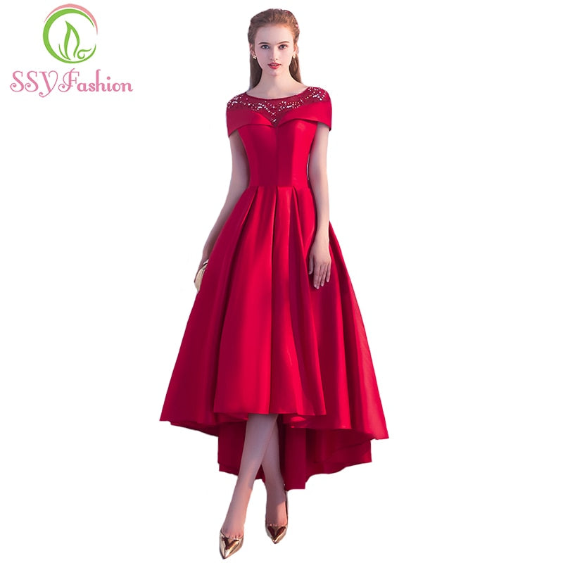 SSYFashion new luxury red satin evening dress the bride Banquet elegant sequins high/low Asymmetry tea-length prom party gown
