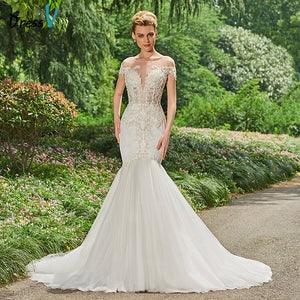 Dressv long stain mermaid wedding dress beading chapel train braid gowns elegant outdoor appliques trumpet wedding dresses