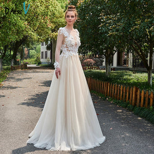 Dressv champagne elegant long wedding dress scoop neck a line back button bridal gown outdoor&church appliques wedding dresses