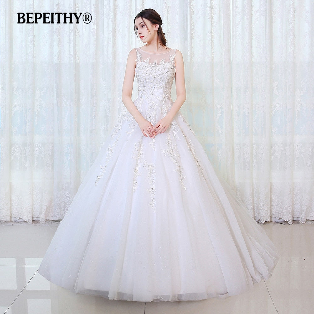 BEPEITHY Ball Gown Wedding Dress Robe De Mariage Luxurious Lace Princess Bridal Dresses 2017 Hot Sale