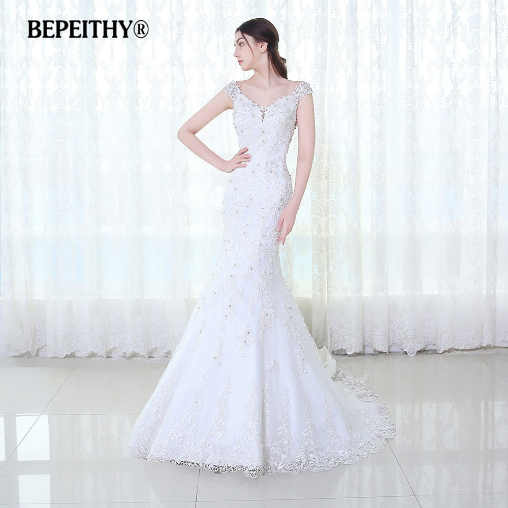 BEPEITHY Lace Wedding Dress Off The Shoulder Vestido De Novia Casamento 2017 Mermaid Bridal Dresses Court Train