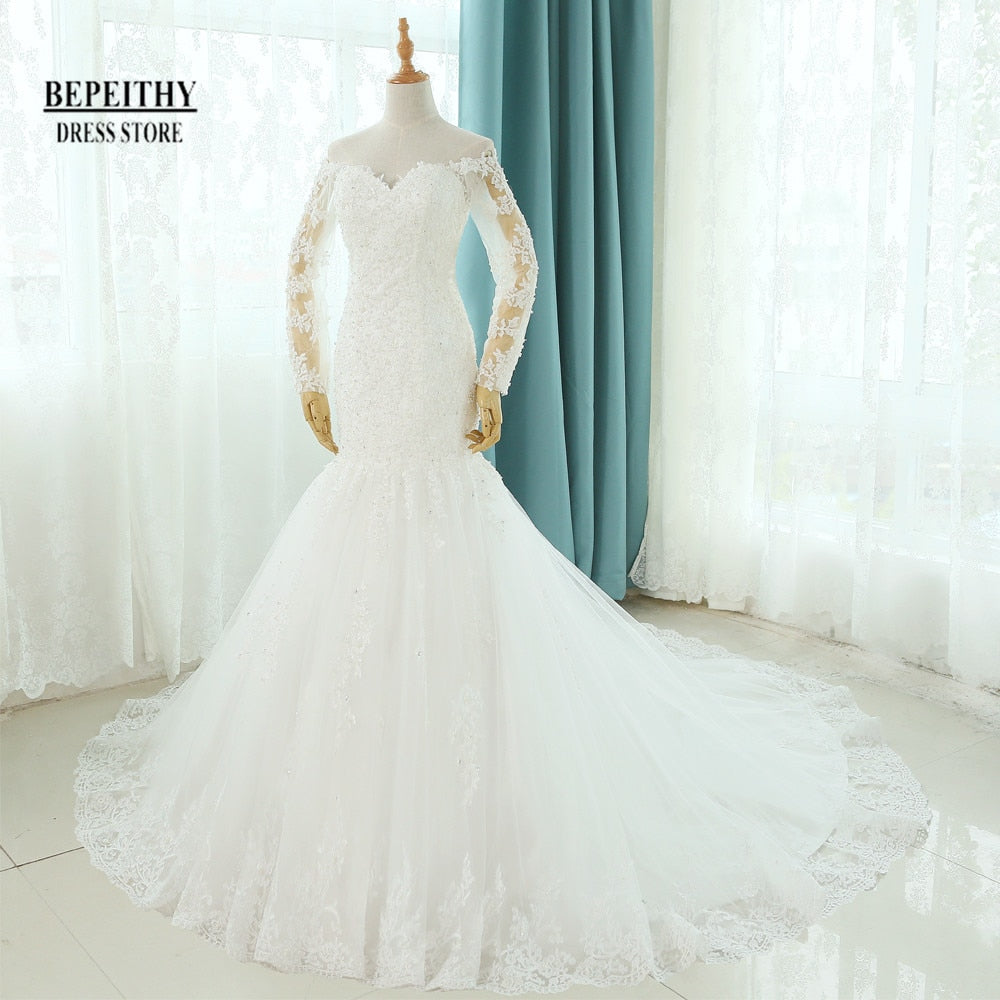 Real Photos Vestido De Novia Mermaid Wedding Dresses Court Train Long Sleeve Customized Cheap Brides Dress Long Lace Bridal Gown