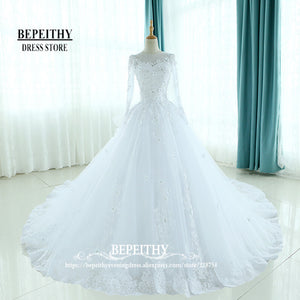 Fashion Full Sleeves Ball Gowns Wedding Dress Scoop Neck Ruffles Back Vestido De Novias Appliques Princess Bridal Dresses New