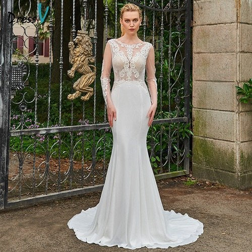 Dressv ivory wedding dress backless scoop neck long sleeves mermaid bridal gown elegant outdoor&church trumpet wedding dresses
