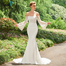 Load image into Gallery viewer, Dressv ivory wedding dress off the shoulder long sleeves mermaid bridal gown elegant outdoor&church trumpet wedding dresses