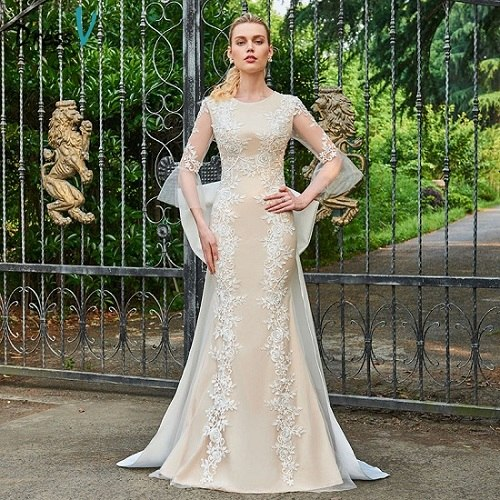 Dressv champagne wedding dress scoop neck appliques 3/4 sleeves mermaid bridal gown elegant outdoor&church wedding dresses