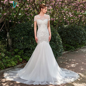 Dressv ivory turmpet wedding dress scoop neck beading court train bridal gown zipper up outdoor&church lace wedding dresses