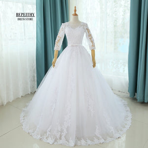 Real Photos Scoop Ball Gown Bridal Gown With Sash Wedding Dresses Chapel Train Customized Cheap Brides Dress Vestido De Novia