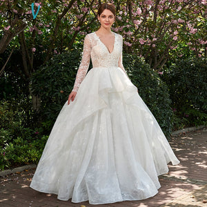 Dressv ivory wedding dress v neck long sleeves back of zipper up ball gown outdoor&church bridal gown lace wedding dresses