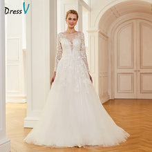 Load image into Gallery viewer, Dressv ivory wedding dress scoop neck court train long sleeves bridal ball gowns elegant outdoor&church organza wedding dresses