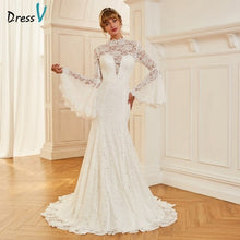 Load image into Gallery viewer, Dressv ivory wedding dress high neck court train long sleeves bridal mermaid elegant outdoor&church lace trumpet wedding dresses