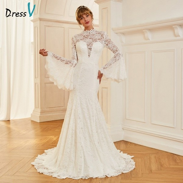 Dressv ivory wedding dress high neck court train long sleeves bridal mermaid elegant outdoor&church lace trumpet wedding dresses
