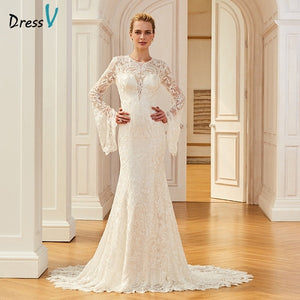 Dressv lace elegant long wedding dress court train long sleeves mermaid bridal gowns outdoor&church trumpet wedding dresses