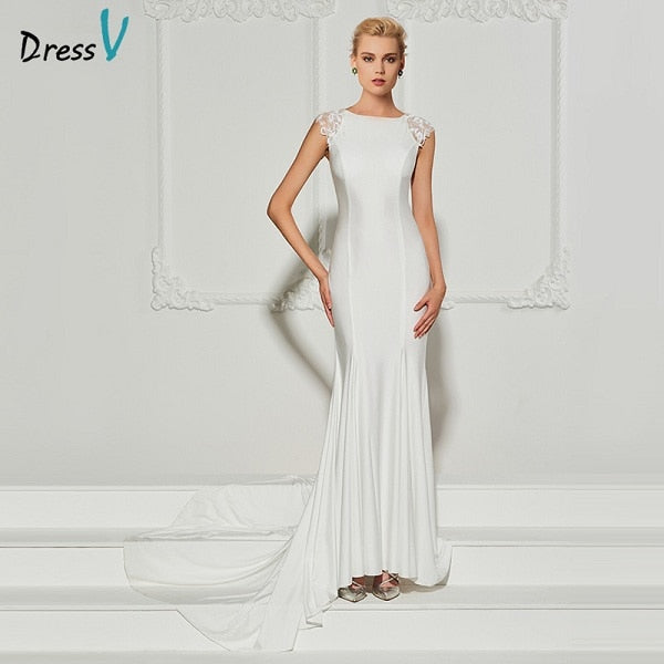 Dressv white long evening dress scoop neck sweep neck trumpet cap sleeves wedding party formal dress mermaid evening dresses